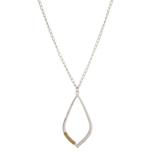"Long, metal necklace with a tear drop pendant, matte finish. Approximately 24"" in length."