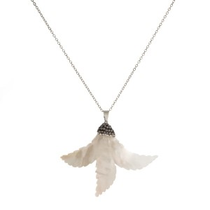 """Silver tone necklace with mother of pearl pendant. Approximately 18"""" in length with a 2"""" pendant."""