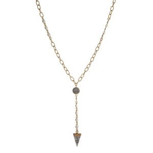 "Gold tonel, dainty necklace with natural stone pendant and faceted beads. Approximately 24"" in length."