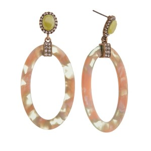"""Statement, post earring with rhinestone detail and acetate oval shape. Approximately 2.5"""" in length."""