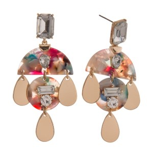 """Statement, post style earring with acetate geometric shape and rhinestone detail. Approximately 3"""" in length."""