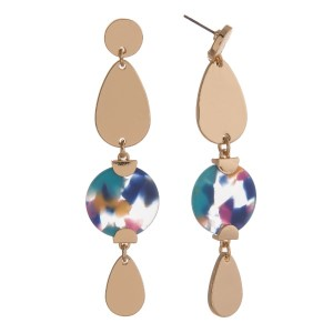 """Gold tone, post earring with acetate circle and metal oval shapes. Approximately 3"""" in length."""