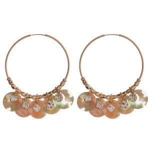 """Gold tone hoop earring with acetate and rhinestone accents. Approximately 2"""""""