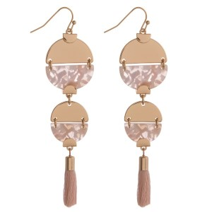 """Gold tone, fishhook earring with acetate geometric shape and soft tassel. Approximately 3"""" in length."""