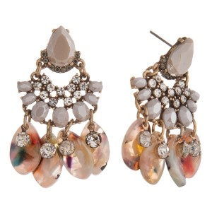 """Statement, post earring with rhinestone cluster and acetate design. Approximately 2"""" in length."""