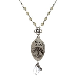 """Long, metal necklace with charms and a spoon pendant. Approximately 28"""" in length."""
