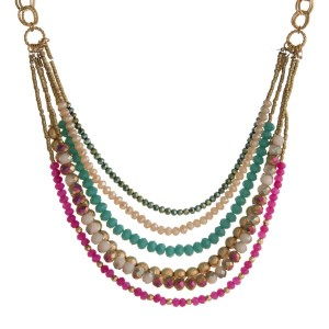 Statement necklace with faceted beads.