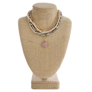 """Short layered necklace with faceted beads and natural stone detail. Approximately 18"""" in length."""