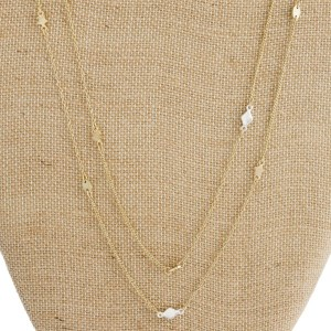 """Long layered necklace with star accents. Approximately 30"""" in length."""