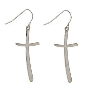 """1-3/4"""" silver tone hook style cross earrings."""