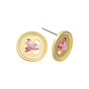"Gold tone post earrings featuring a button with pink cord decor. Approximately 2/4"" in length."