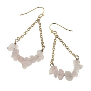 "Worn gold tone trapeze chain earrings with pale pink chipstone. Approximately 1 1/2"" in length."
