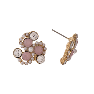 "Gold tone post style earrings displaying pink and clear round rhinestones with faux pearl accents. Approximately 3/4"" in length."