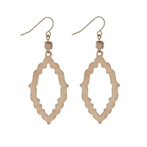 """Gold tone fishhook earrings displaying an open Moroccan shape. Approximately 2"""" in length."""
