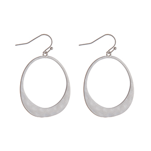 """Silver tone fishhook earrings with a hammered circle. Approximately 1.5"""" in length."""