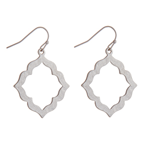 """Silver tone fishhook earrings with a brushed quatrefoil pendant. Approximately 1"""" in length."""