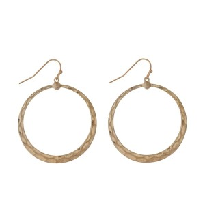 """Gold tone fishhook earrings with an open circle shape. Approximately 1"""" in length."""
