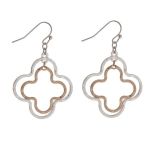 """Silver tone fishhook earrings with a two tone quatrefoil shape. Approximately 1.5"""" in length."""