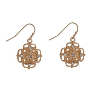 """Gold tone fishhook earrings with a clear rhinestone clover. Approximately 3/4"""" in length."""