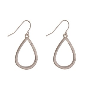 """Hammered silver tone fishhook earrings with a dainty teardrop. Approximately 1"""" in length."""