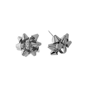 "Silver tone bow stud earrings. Approximately 1"" in length."