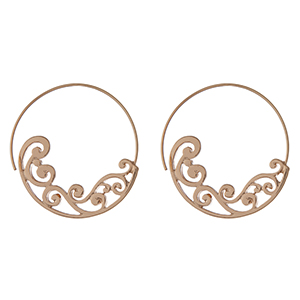 """Gold tone hoop earrings with a scroll pattern. Approximately 1.75"""" in length."""