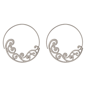 """Silver tone hoop earrings with a scroll pattern. Approximately 1.75"""" in length."""