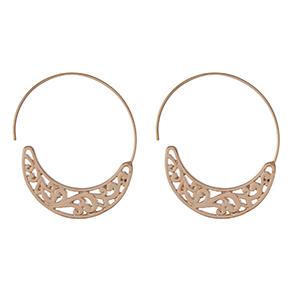 """Gold tone hoop earrings with a swirl pattern. Approximately 1.75"""" in length."""