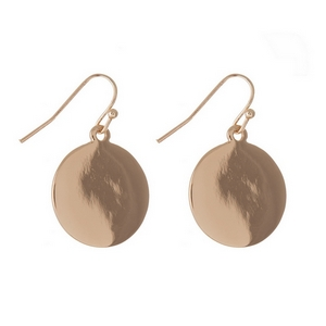 """Gold tone fishhook earrings with an engravable circle. Approximately 1"""" in length."""