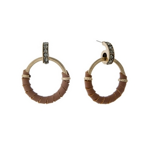 """Gold tone post style earrings with brown leather wrapped circles and gray rhinestone accents. Approximately 1.5"""" in length."""
