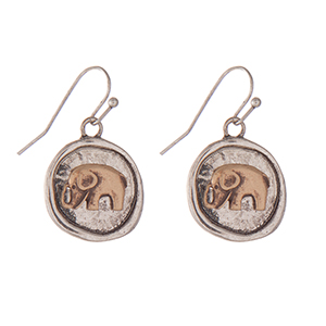 """Burnished silver tone fishhook earrings with a two tone elephant. Approximately 1"""" in length."""