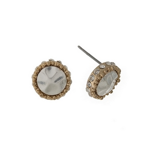 "Two tone circle stud earrings with a hammered texture, accented with clear rhinestones. Approximately 1/4"" in length."
