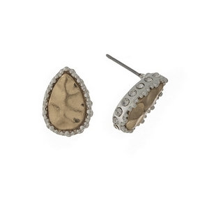 "Two tone teardrop stud earrings with a hammered texture, accented with clear rhinestones. Approximately 1/4"" in length."
