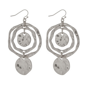 "Hammered silver tone circle earrings. Approximately 2"" in length."