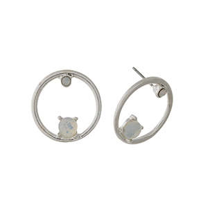 """Silver tone circle stud earrings with opal stone and rhinestone accents. Approximately 1"""" in length."""