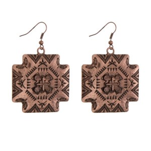 "Copper tone tribal print earrings. Approximately 2"" in length."