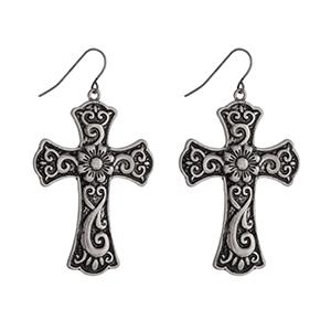 """Silver tone cross earrings. Approximately 1.75"""" in length."""