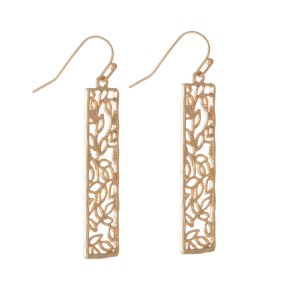 "Gold tone fishhook earrings with a filigree rectangle. Approximately 2"" in length."