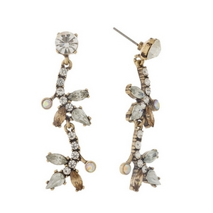 """Burnished gold tone, post style earrings with brown and clear rhinestones. Approximately 2"""" in length."""