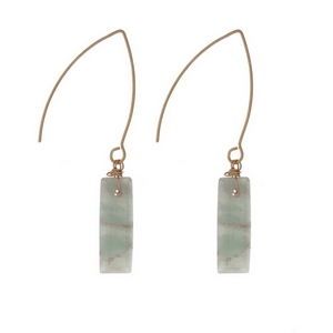 "Gold tone, long hook earrings with an amazonite stone. Approximately 1.5"" in length."