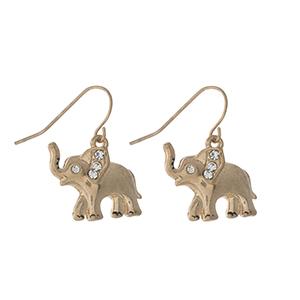 """Dainty gold tone elephant fishhook earrings. Approximately 1"""" in length."""