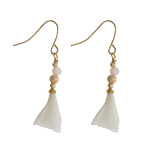 "Gold tone fishhook earrings with an ivory fabric flower. Approximately 1"" in length."