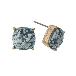 "Gold tone stud earrings with light blue glitter. Approximately 1/2"" in diameter."
