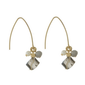 "Gold tone, long hook earrings with a gray beaded cluster. Approximately 1.25"" in length from top of the hook to bottom of beads."
