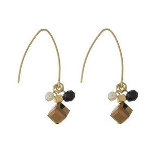 "Gold tone, long hook earrings with a black and bronze beaded cluster. Approximately 1.25"" in length from top of the hook to bottom of beads."