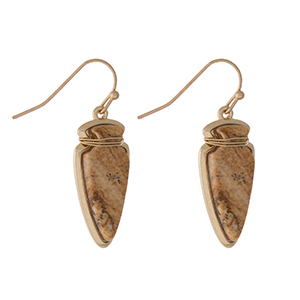 "Gold tone fishhook earrings with a picture jasper arrowhead. Approximately 1"" in length."