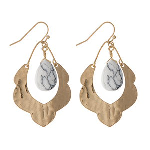 "Hammered gold tone scalloped earrings with a howlite stone. Approximately 1.5"" in length."