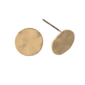 "Hammered gold tone circle studs. Approximately 1/4"" in length."