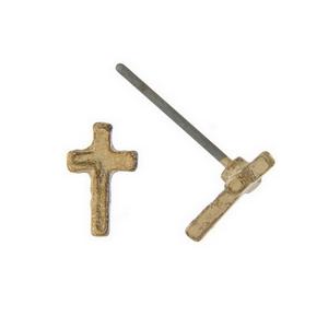 "Dainty gold tone cross stud earrings. Approximately 1/5"" in length."