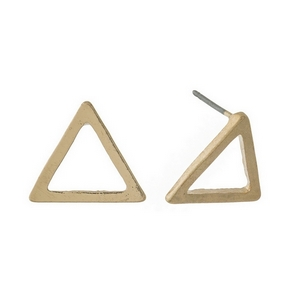 "Gold tone, triangle shaped, stud earrings. Approximately 1/2"" in length."